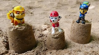 Мультики для малышей про развивающие игрушки — Герои Щенячий Патруль строят башни из песка