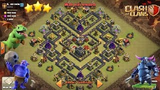"How To 3 Star This Popular ""V MOAT"" TH9 War Base (With Pekka and Bowlers) 