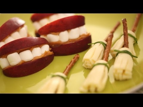 How to Make Edible Witch Brooms & Apple Marshmallow Dentures || KIN PARENTS
