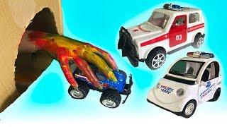 Мультики про Машинки для Детей-Полицейская и Пожарная спасают машинки из пещеры-Про пожарную Машину
