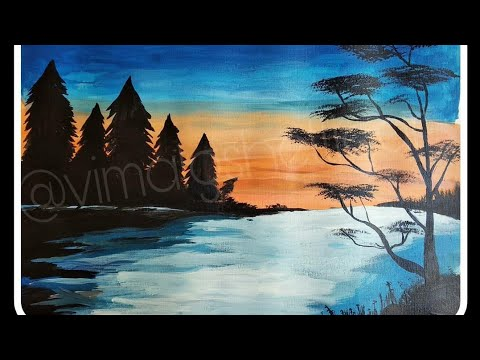 Beautiful scenery painting | landscape painting | acrylic colours