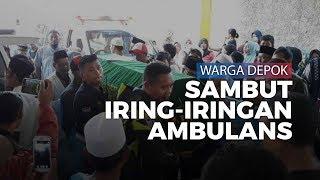 Tangis Ratusan Warga Pecah Saat Iring-iringan Ambulans Pembawa Jenazah Tiba di Depok