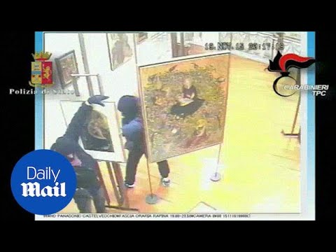 Italian art thieves caught on CCTV clearing out a gallery - Daily Mail