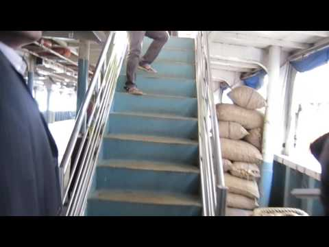 Walking through passenger and cargo ferry, Old Dhaka port, Bangladesh