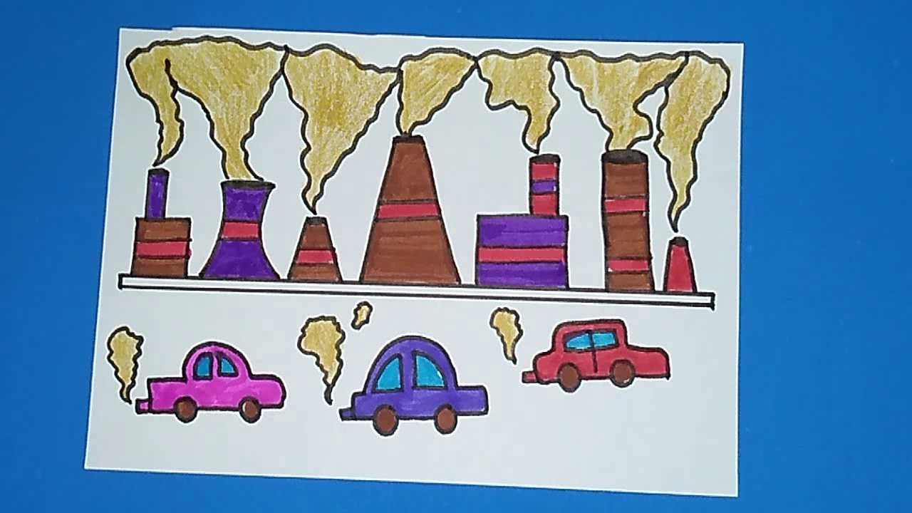 How to draw stop air pollution coloring drawing for kids save earth save environment