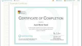 How to create an e-certificate for your Open Learning course