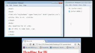 Make a working HTML-CSS webpage with Notepad