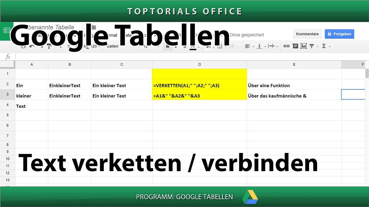 Text verketten / verbinden (Google Tabellen Spreadsheets) - YouTube
