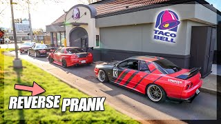Reverse Drive Thru Prank with a LINE of JDM Cars! (R32, R34, Chaser)