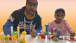Ishfi and Daddy Unboxing Wooden Block Set