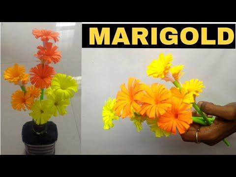 How to make paper stick flower    diy marigold flower