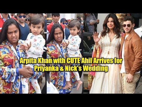 Salman Khan Sister Arpita with CUTE Ahil ARRIVES at Jodhpur for Priyanka & Nick's Wedding Ceremony