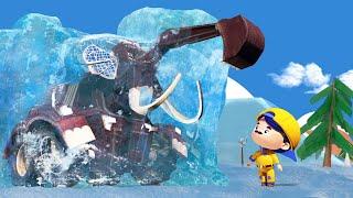 АнимаКары - РОЖДЕСТВО : БЫК БУЛЬДОЗЕР спасает МАМОНТА изо льда - мультфильмы с машинами и животными