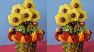 Фруктовый букет. Карвинг. Как красиво нарезать киви, ананас, фрукты(Фруктовый букет. Карвинг. Как красиво нарезать киви, ананас, фрукты., 2016-02-09T08:00:01.000Z)