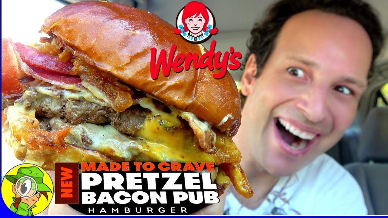 Wendy S Pretzel Bacon Pub Double Cheeseburger Review Peep This Out Youtube