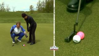 Video Golf Tip of the Week: Putting Drill to Avoid Cutting Putts to the Right download MP3, 3GP, MP4, WEBM, AVI, FLV Juli 2018