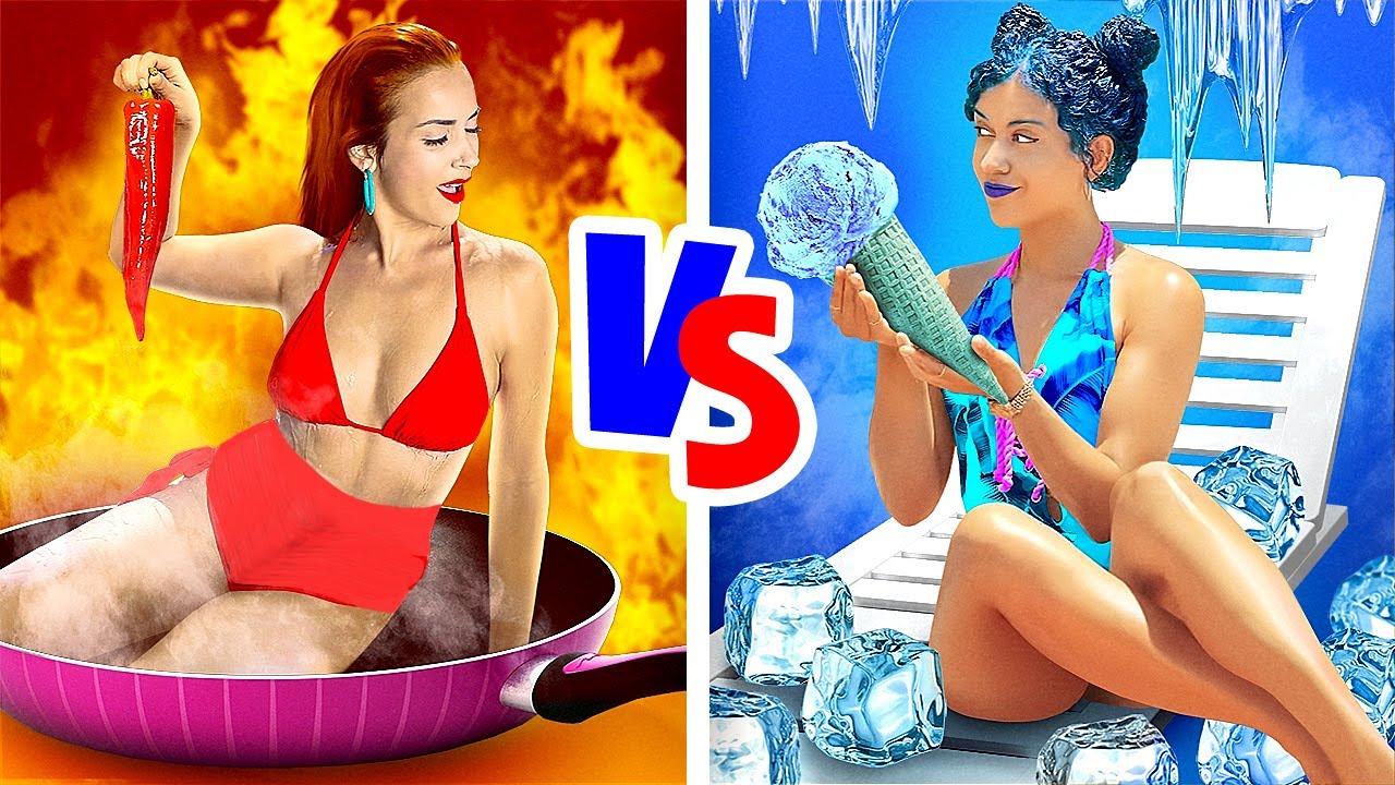 뜨거움 VS 차가움 챌린지! || 뜨거운 여자 VS 추운 여자 by 123 GO! GOLD