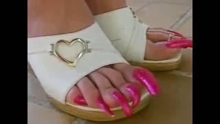 Long toenails in pink made to dominate   (КРАСИВЫЙ КРАСНЫЙ ПЕДИКЮР НА НОГАХ )