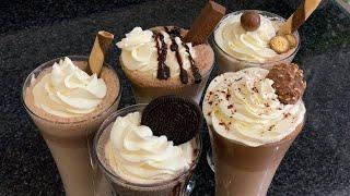 5 Milkshakes Chocolate  Oreo  Kit Kat  Malt and Ferrero Rocher Drinks by (HUMA IN THE KITCHEN)