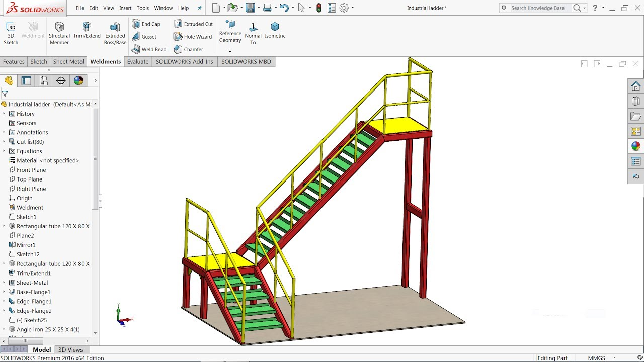 Solidworks Weldments Tutorial Design Of Steel Ladder In