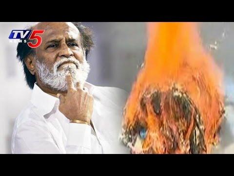 Rajinikanth's Effigy Burnt Infront of His House | Is Rajinikanth Kannadiga? | TV5 News