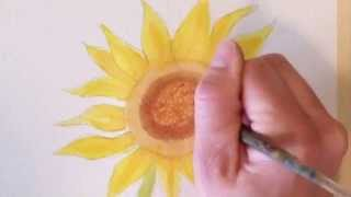 how to draw and paint a watercolor sunflower
