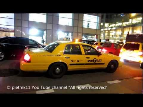 NYPD responding taxi yellow cab undercover New York police car night & lights ©