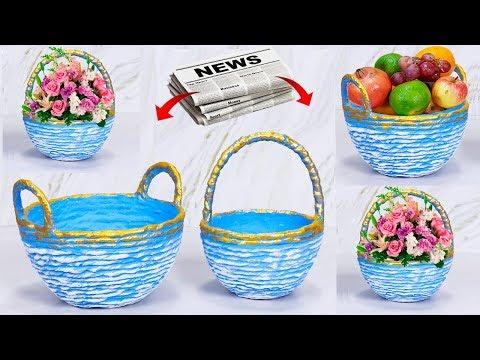 Paper basket Easy making // Fruit,Flower Basket making with paper