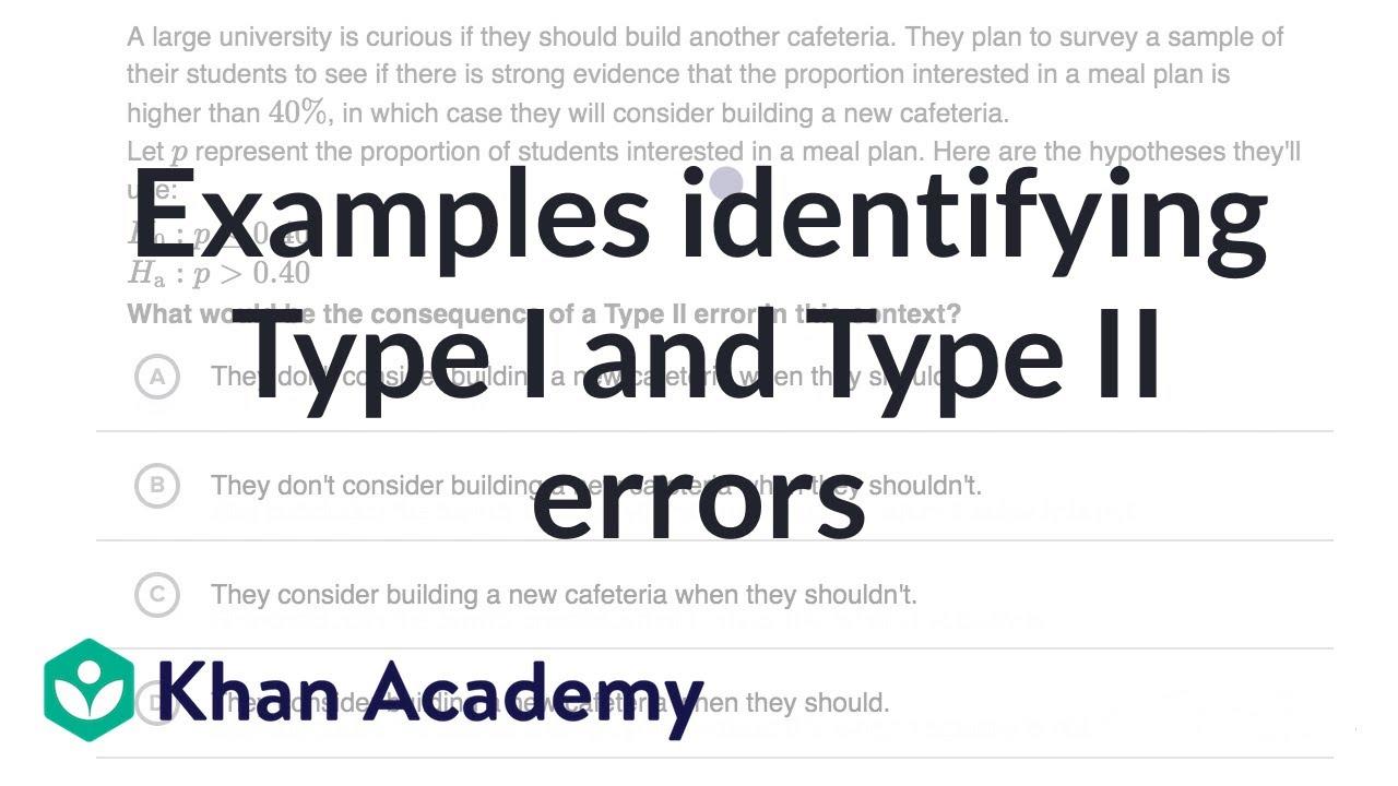 Examples Identifying Type I And Type Ii Errors Video Khan Academy [ 720 x 1280 Pixel ]