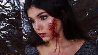 Макияж на Хеллоуин Открытая рана Грим своими руками
