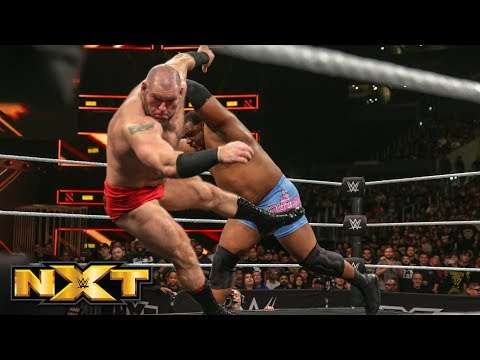 Keith Lee pounces Lars Sullivan out of the ring: WWE NXT, Nov. 21, 2018