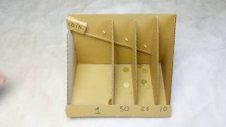 DIY Coin Sorting Machine from Cardboard (  How to Make Coin Bank Box )