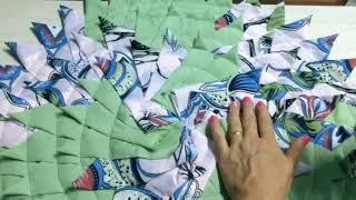 Tapete redondo de retalhos em tecido (bicão)