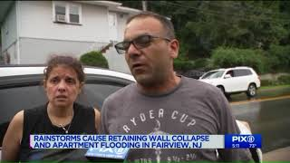 Retaining wall collapses, displacing residents in Fairview, NJ