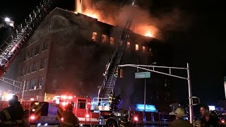 Passaic NJ Fire Department 8th Alarm Fire  280 Gregory Ave Heavy Fire, Rescues made on arrival