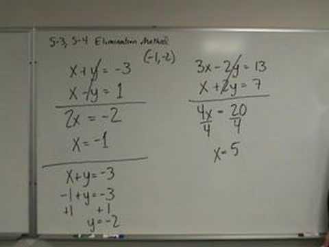 Algebra - Solving Systems of Equations - Elimination Method