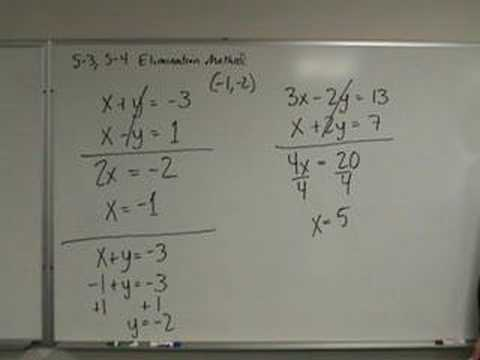 Algebra - Solving Systems of Equations - Elimination Method - YouTube