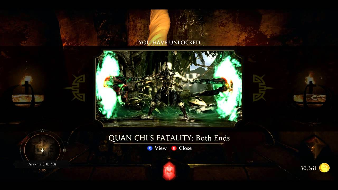MKX KRYPT UNLOCK : Quan Chi's Fatality Both Ends (18,30)