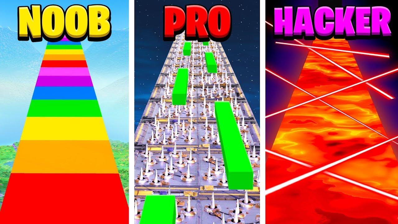 Noob Vs Pro Vs Hacker Fortnite Parkour School Challenge Learn How