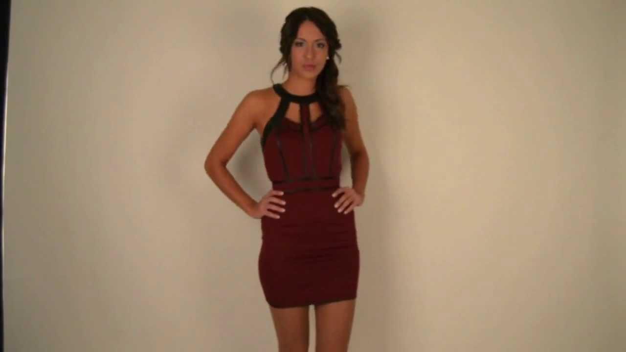 Moda Online Vestido De Fiesta Ajustado En Color Vino Cata