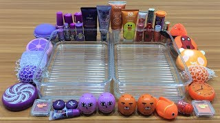 Mixing Makeup and Floam Into Clear Slime ! Purple and Orange Special Series Part 10 Satisfying Slime