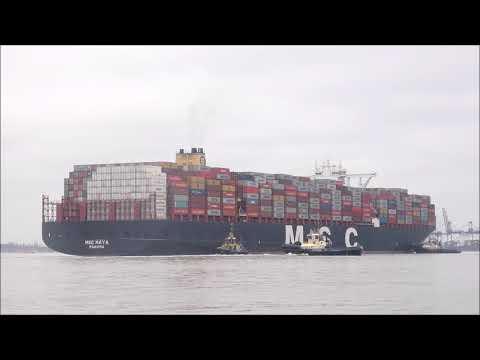 Deep draughted MSC Maya arrives heavily laden,planned port side to Felixstowe Berth 9.   21-03-2019
