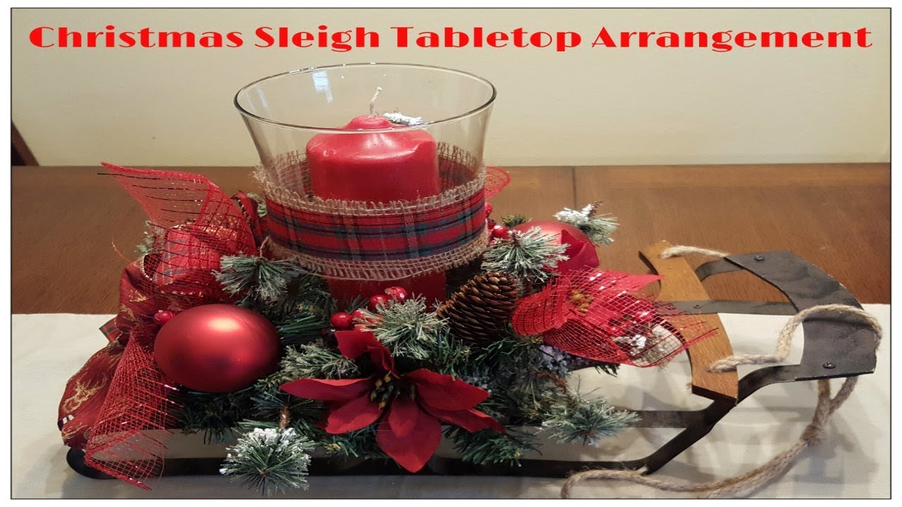 tricias creations christmas sleigh tabletop arrangement