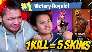 1 KILL = 5 FREE SKINS FOR MY 9 YEAR OLD LITTLE BROTHER! 9 YEAR OLD PLAYS SOLO FORTNITE BATTLE ROYALE thumbnail