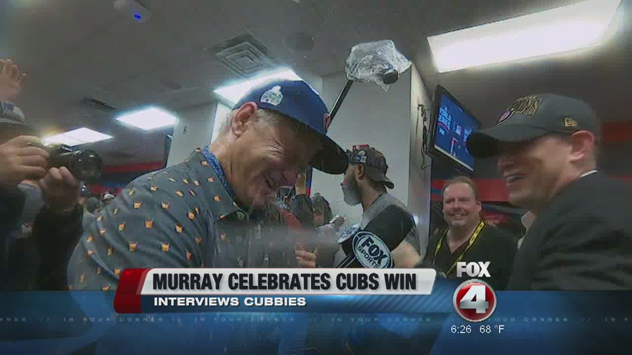 9e56421cb07 Bill Murray Sprayed with Champagne by Theo Epstein - YouTube