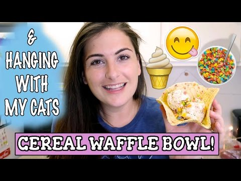 DIY CEREAL WAFFLE BOWL & ICE CREAM // MY CATS || THE IceCreamQueen