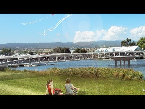 Final design of the North Bank pedestrian and cyclist bridge across the North Esk River.