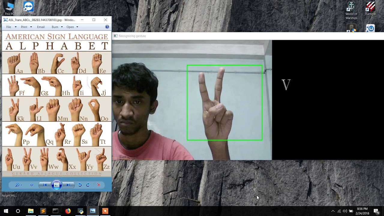 American Sign Language recognition using Python + OpenCV + Keras +  Tensorflow