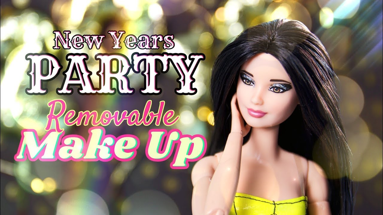 DIY - How to Make REMOVABLE  Doll Make Up PLUS DIY Balloons New Years Eve