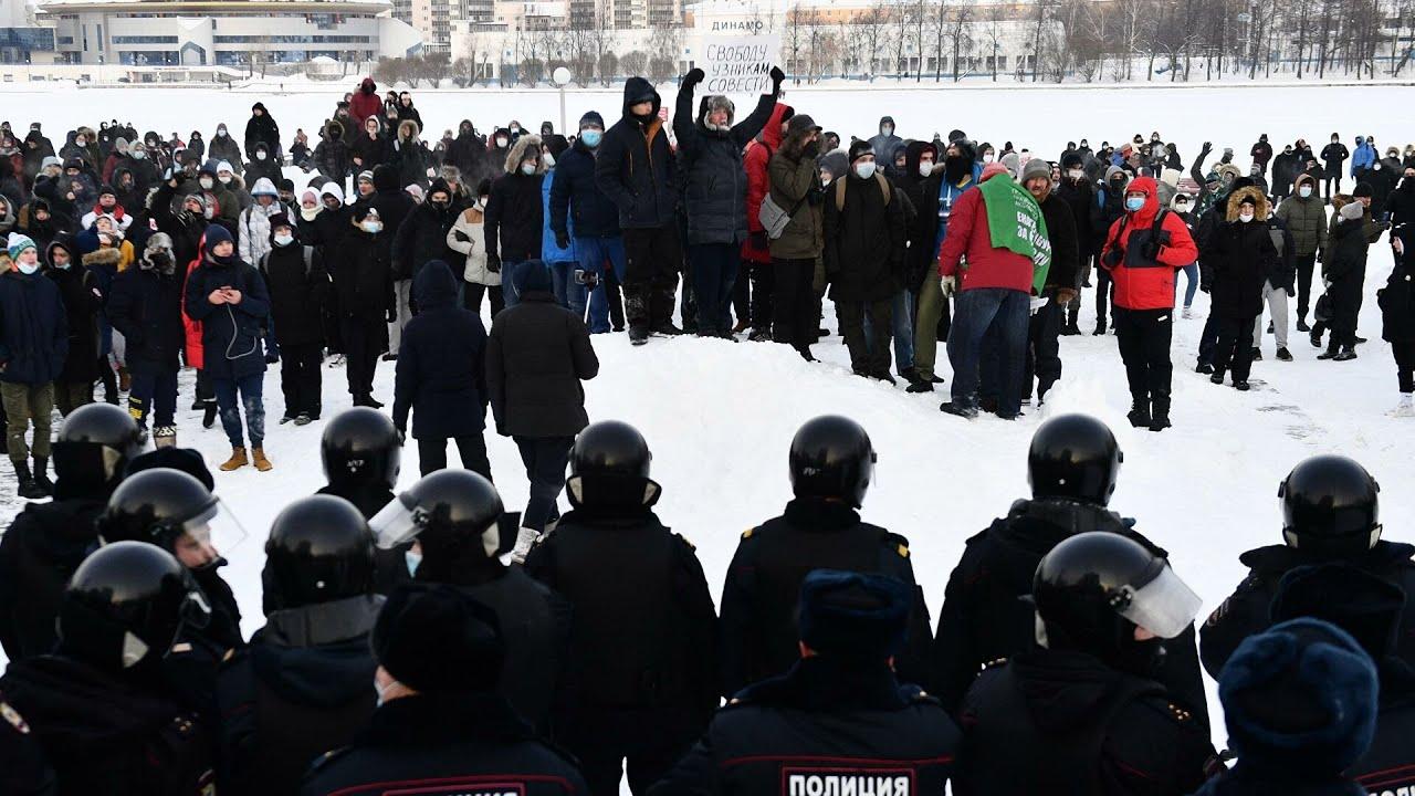 Начало митингов в Москве,Свободу Навальному, акции протеста, 23 января, митинг, Россия,23 01 2021